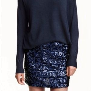 NWT - H & M Navy Blue Sequin Mini Skirt - Holiday